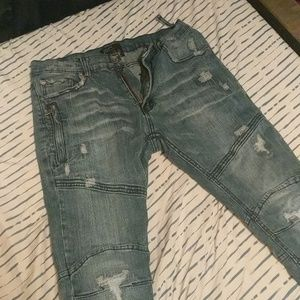 Ripped blue jeans